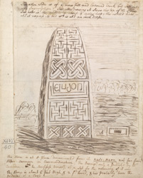[Sketch of Celtic Stone from Kaers Maen, near Abber Sannan in Carmardinshire]